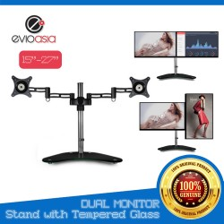 "Dual Monitor Stand with Tempered Glass 15""-27"""